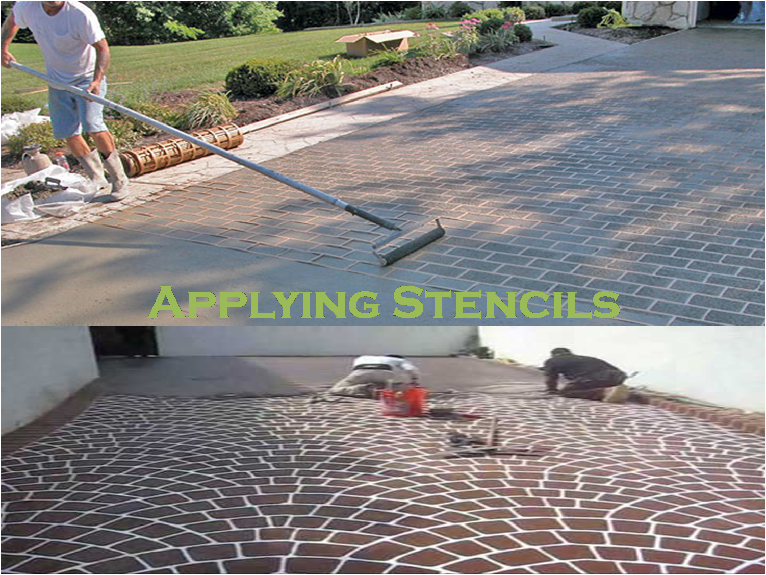 Applying stencils Concrete
