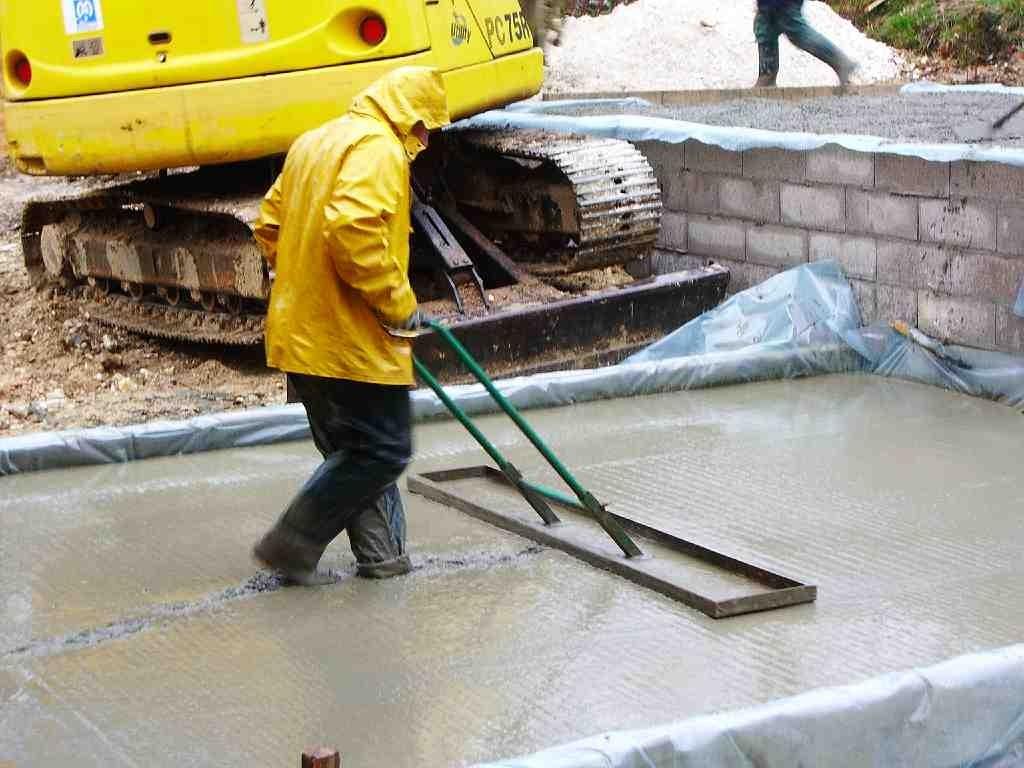 Concrete Pour in the Heavy Rain
