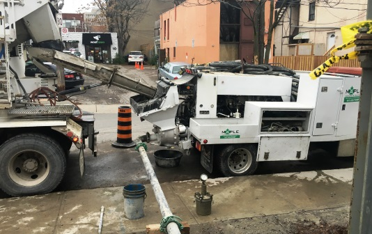 employing concrete pumping
