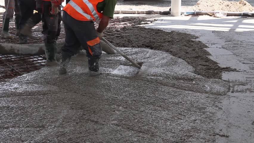 pouring concrete on the floor
