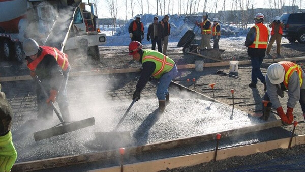 allowing concrete to freeze